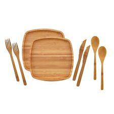 """Camping Mess Kit Organic 8"""" x 8"""" Bamboo Plates Forks Knifes Spoon 2 Sets"""