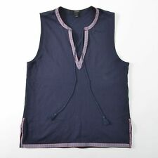 J Crew Tank Top With Embroidered Trim Tassel Navy Womens S Small
