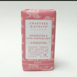 Crabtree Evelyn Rosewater & Pink Peppercorn HYDRATING Milled Soap 5.5 oz. SEALED