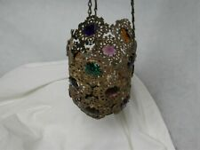 Victorian Hanging Hall Fairy Brass Lamp Shade Glass Faceted Jewels Antique 1880s