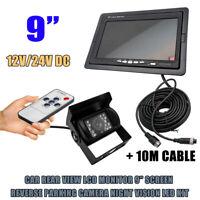"""9"""" LCD Moniteur Car Rear View Kit+IR 18 LED sans fil Caméra de recul Bus étanche"""