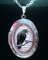 Edgar Allan Poe The Raven Silver Locket & Necklace Goth Steampunk Victorian