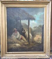 BEAUTIFUL 1840 Man Dog 19th C Antique Genre Oil Painting Reading Pa