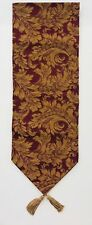 New listing Table Runner Burgundy Gold Floral Elegant With Tassels 12 X 70 Inches