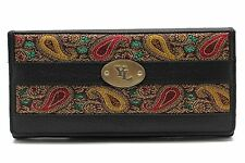 Women's Cow Leather Clutch Wallet Embroidery Patch 01 YL Black,Red,Lime Purse
