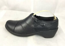 Clarks 26130696 Women's Channing Ann Black Combination Leather Slip On Shoes 6 W