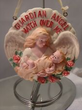 "Vtg Round Resin Guardian Angel Watch Over Me Ornament w/Roses-3 7/8"" Wide"