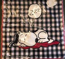 Pottery Barn Sleepy Snoopy Pillow Cover Peanuts 18x18 Christmas New Plaid