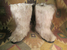 Vtg  60s SHAGGY  FUR Hair French Ski YETI BOOTS SizeEU 38 US-7.5 Made in France