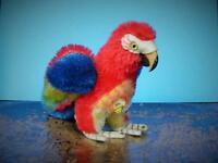 "STEIFF VINTAGE 1962-67 4"" MOHAIR STANDING LORA PARROT WITH CHEST TAG NO BUTTON"