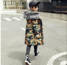 Boy's 100% Cotton Coat Trench Fur Collar Thicken Down Jacket Overcoat Chic W01