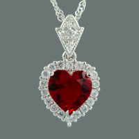Ocean Love Heart 18K White Gold Gp CZ Zirconia Red Ruby Pendant Necklace New
