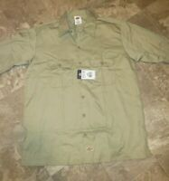 Dickies Mens Long Sleeve Cotton Work Shirt Size L, Tan  Pockets Button Up NWT