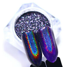 0.2G Purple Holographic Rainbow Nail Glitter Powder Laser Mirror Nail Art Tips