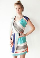 Anthropologie Twinkle by Wenlan Girl Next Door Striped Silk Dress 2 XS NWT $342
