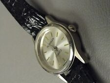 Rumours ladies petite stainless watch 6 1/2 inch black leather band runs great