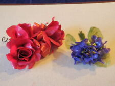 """Retro Millinery Flower Collection PLASTIC 1"""" Violets Waxy 3"""" Roses   H2036"""