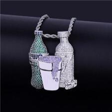 Double Sprite Bottle Purple Cup Hip Hop Mens Pendant With Emerald, Amethyst & CZ