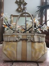 Coach F13337 Hamptons Optic Signature Stripe Gallery Carryall Shoulder Bag  EUC
