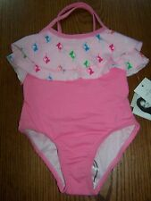 NWT Baby Phat Pink & White Ruffle Logo 1 pc Swim Suit Size 2T  Free US Shipping