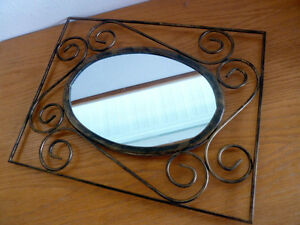 "Oval Mirror  Burnished Gold Scrolly Metal Rectangular Frame  12 1/2"" x  15 1/2"""