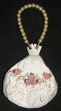HAND MADE PURE SILK WHITE BAG PURSE, EMBROIDERED PINK ROSES & BEADS, FULLY LINED