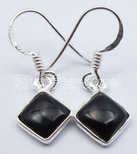 """Square Factory Direct Earrings 1.1"""" 925 Sterling Silver Dazzling Black Onyx"""
