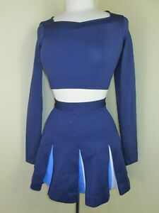 Cheerleader Crop Top Skirt Uniform Outfit Navy Blue Make Fun Halloween Costume