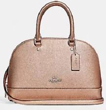 New Coach 29170 mini Sierra Satchel Metallic Leather handbag Platinum