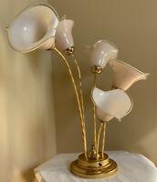"Vintage MURANO Italian Brass Art Glass Calla Lily Table Lamp 31"" Italy"