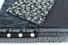 Nine (9) FAT QUARTER Fabric Bundle Black/White Great Quilting Fabric