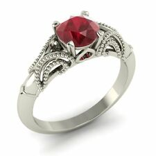 Certified 1.39 Ct Natural Ruby 14K White Gold Solitaire Engagement Ring