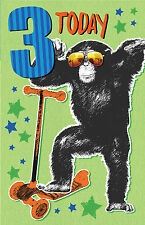 3 Today Monkey Glasses Scooter Design Lovely Bright Modern Happy Birthday Card