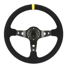 "35cm/13.8"" Universal Suede Deep Dish Racing Sport Steering Wheel for Any Car New"