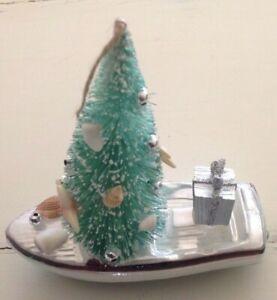POTTERY BARN Ornament  Glass  BOAT TREE Coastal Nautical Ocean Christmas