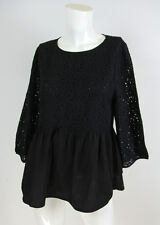 Anthropologie Meadow Rue Sz S Black Floral Lace Peplum Long Sleeve Blouse Top