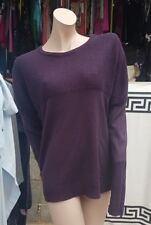Ladies  Crafted Jumper Top Knit Wear Size M Purple Loose Fit