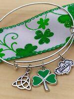 Ireland~Irish Shamrock ☘️ Green Clover & Celtic charms Bangle Bracelet