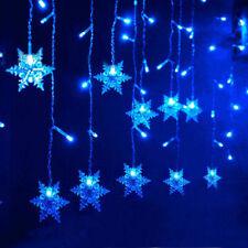 US 11.4FT 96LED Snowflake String Curtain Lights Xmas Wedding Window Decor