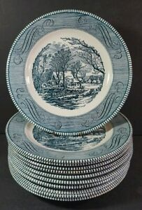 Currier & Ives Americana Dinner Plates Lot of 11 Royal China Blue 10""