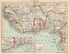 B6250 Guinea - Carta geografica antica del 1902 - Old map