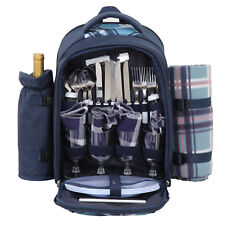 Picnic Backpack For 4 Person Family Lunch Set w/ Insulated Cooler Camping Park