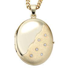 NEU Medaillon mit Diamanten 2 Fotos 585er echt Gold Gelbgold 14 Karat 30x23 mm