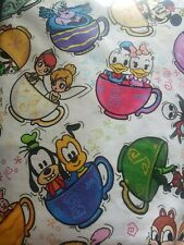 COTTON linen  print TEA CUPS AND SAUCERS KIDS fabric upholstery CURTAIN140 CMS