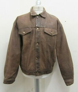 VINTAGE 80's CHEVIGNON DISTRESSED LEATHER MOTORCYCLE TRUCKER JACKET SIZE XL