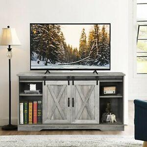 Costway HW61826 TV Stand with Cabinet Sliding Barn Door