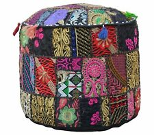 """18"""" Indian Black Patchwork Pouf Ottoman Cover Footstool Embroider Covers Throw"""