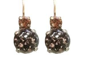 Mariana Crystal Earrings, Large, Amber and Black (E-10376 280-2)