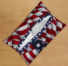 Tissue Packet Flag American Patriotic Pocket Holder Fabric Cover Handmade