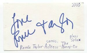 Renee Taylor Signed 3x5 Index Card Autographed Signature Actress The Nanny